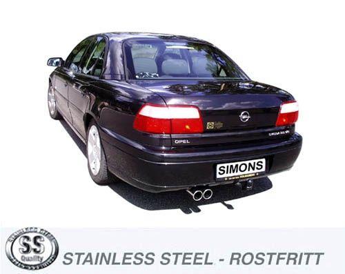 Simons Edelstahl Auspuffanlage 2x80mm rund Opel Omega B Limousine 2.5i/2.6i/3.0i/3.2i ab Baujahr 10/
