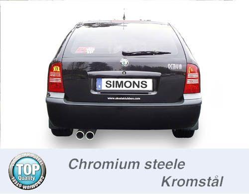 Simons Stahlanlage 2x80 mm rund für Skoda Octavia Limousine/Kombi 1.8 Turbo/1.9TDI nicht RS