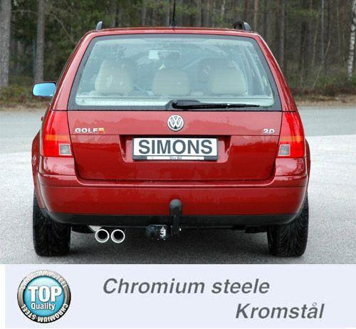 Simons Chromsteel Exhaustsystem 2x80 mm round VW IV Variant 1.8T/1.9TDI/1.9SDI Model 99-
