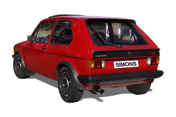 Simons aluminized Steel-Exhaustsystem 1x80 mm round VW Golf I/Golf I Cabrio Model 74-83
