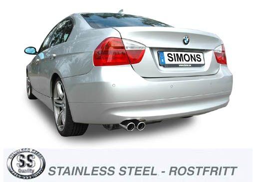 Simons Edelstahl Auspuffanlage 2x70 mm rund für BMW E90/91 Limousine/Touring 325i/330i Baujahr 05-2/