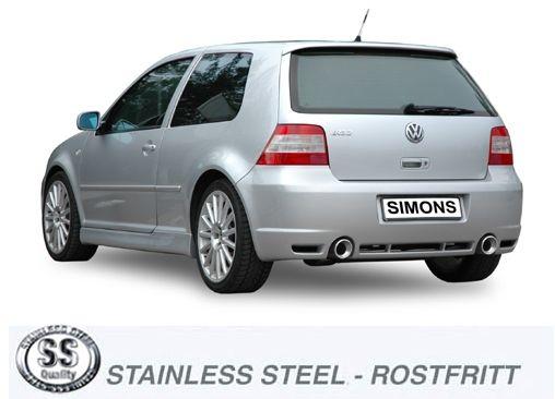 Simons Duplex Edelstahl Auspuffanlage je 1x100 mm rund für VW Golf IV R32
