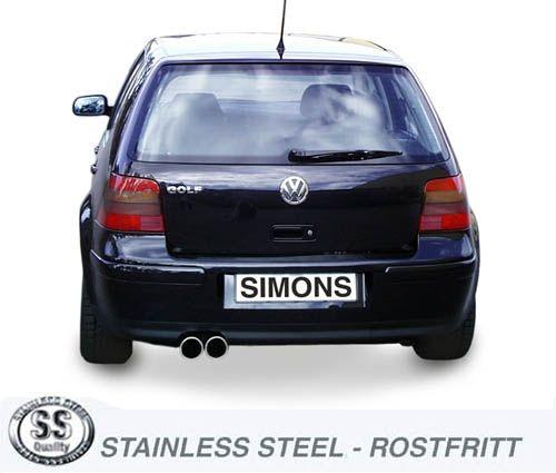 Simons Edelstahl Auspuffanlage 2x80 mm rund für VW Golf IV Turbo 1.8T/1.9TDI/1.9SDI Baujahr 96-
