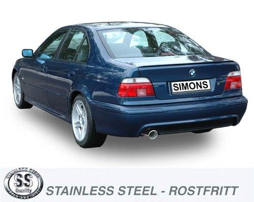 Simons Edelstahl Endschalldämpfer 1x100mm rund für BMW E39 Limousine 520i/523i/525i/528i/530i Baujah