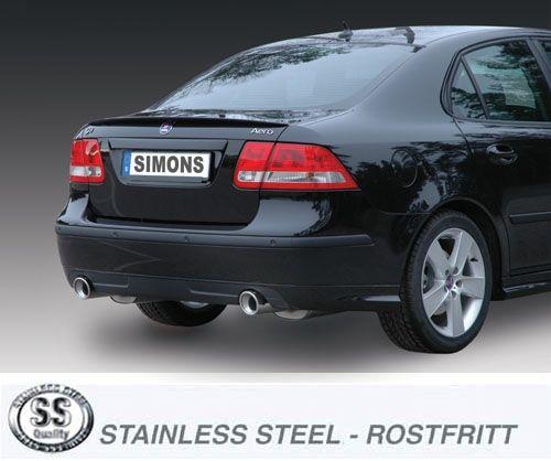 Simons Duplex Stainlesssteel Exhaustsystem 1x100mm round Saab 9-3 2.8T/2.0T-Aero Sport Limousine/Sport Caravan/Sport Cabrio