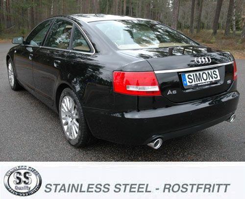 Simons Duplex Edelstahl Endschalldämpfer 1x100 mm rund für Audi A6 (4F) 2.0 TFSi Limousine/Avant Bau
