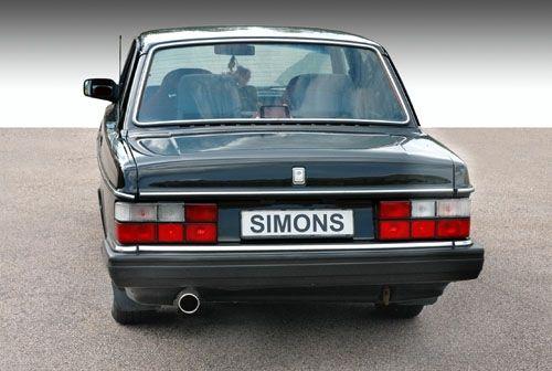 Simons aluminisierte Stahl Auspuffanlage 1x90mm rund Volvo 240/242/244/245 Turbo B21/B23 Baujahr 81