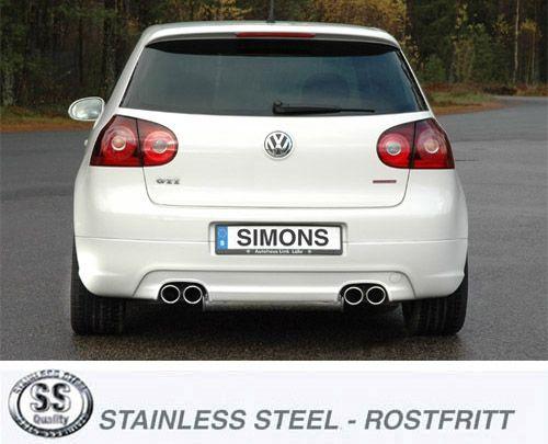 Simons Duplex Edelstahl Endschalldämpfer 2x80 mm rund für Golf V/VI 2.0 TFSi 200 PS Baujahr 2004-