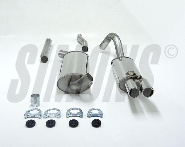 Simons Edelstahl Auspuffanlage 2x70mm Audi 80/90/Cabrio Typ 89 2.0/2.2/2.3 nicht 20V Baujahr 9/86-