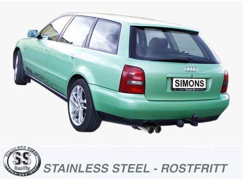 Simons Edelstahlanlage 2x80 mm rund für Audi A4 (B5) Limousine/Avant Quattro 2.4/2.5TDI/2.5TDI/2.6/2