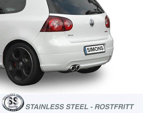 Simons Edelstahl Auspuffanlage 2x80 mm rund für VW Golf V GTi/GTi Editon 30/Golf V/VI 14TSi , Audi A
