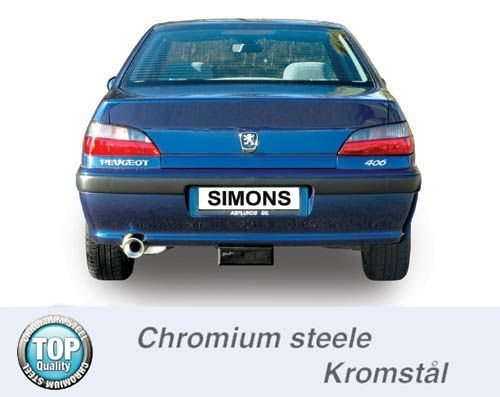 Simons Chromstahl Auspuffanlage 1x100mm rund Peugeot 406 Limousine 2.0i Baujahr 96-