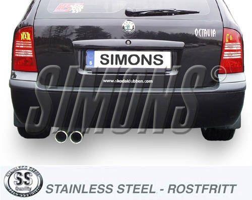Simons Edelstahlanlage 2x80 mm rund für Skoda Octavia Limousine/Kombi 1.6/1.8 Baujahr 97-04