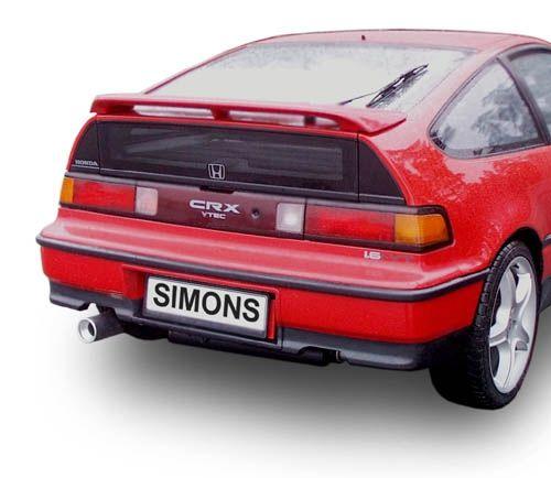Simons aluminisierte Stahl Auspuffanlage 1x90mm Honda Civic Coupe/CRX 1.4/1.5/1.6 Baujahr 11/87-91