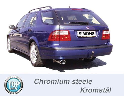 Simons Chromstahl Auspuffanlage 1x90/120mm oval Saab 9-5 Turbo 2.0/2.3 Limousine/Caravan Baujahr 02