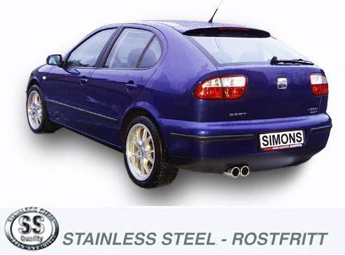 Simons Edelstahl Auspuffanlage 2x80 mm rund für Seat Leon 1.8i Turbo Baujahr 99-05