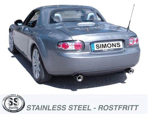 Simons Duplex Edelstahl Endschalldämpfer 1x90mm Mazda MX5 (Miata) Typ NC Baujahr 05-