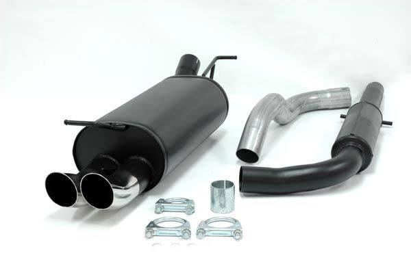 Simons aluminisierte Stahl Auspuffanlage 2x76 mm RS Look für VW Golf IV 1.4/1.6/1.8/1.8T/1.9TDI/1.9S