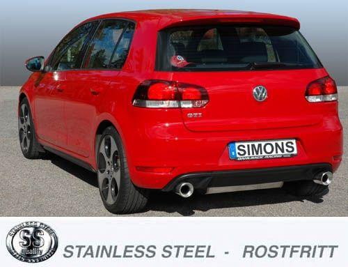 Simons Duplex Edelstahlanlage 1x100 mm rund Golf VI GTi 2.0TSi 211PS Baujahr 09-