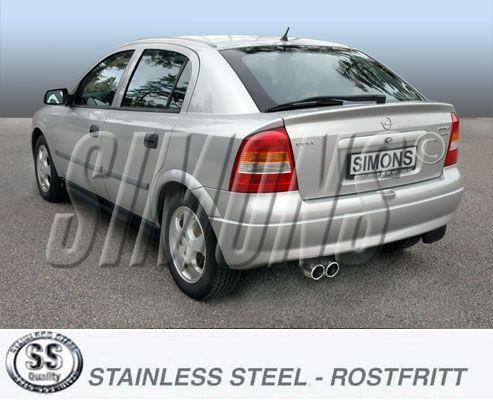 Simons Edelstahl Auspuffanlage 2x80mm rund Opel Astra G CC Fließheck/1.4/1.6/1.8/2.0/2.2 ab Baujahr