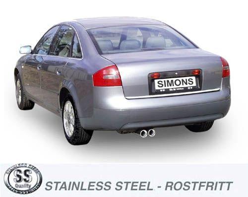 Simons Edelstahlanlage 2x80 mm rund für Audi A6 (C5) Limousine/Avant 2.4/2.7T/2.8 Baujahr 97-5/01