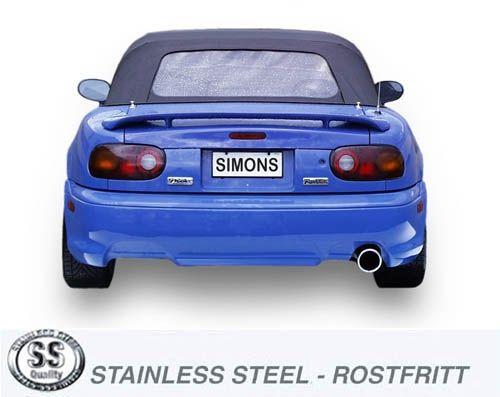 Simons Edelstahl Auspuffanlage 1x100mm Mazda MX5 Coupe/Cabrio Typ NA 1.6i 16V/1.8i 16V Model 89-98