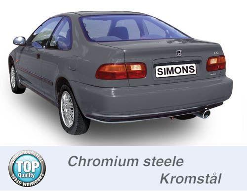 Simons Chromstahl Auspuffanlage 1x100mm rund Honda Civic Limousine/Coupe 3/5 Türer 1.5-1.6 Baujahr