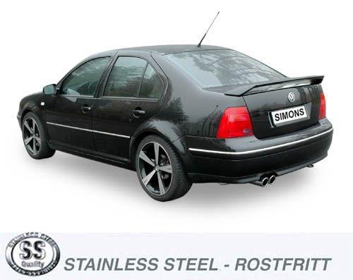 Simons Edelstahl Auspuffanlage 2x80 mm rund für VW Bora 1.8T/1.9TDI/1.9SDI