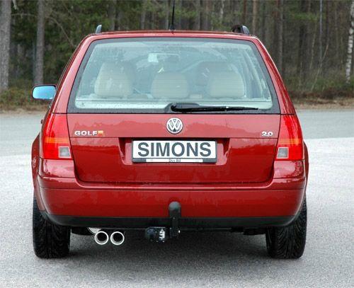 Simons aluminisierte Stahl Auspuffanlage 2x80 mm rund für VW Golf IV Variant 1.4/1.6/1.8/1.8T/1.9TDI