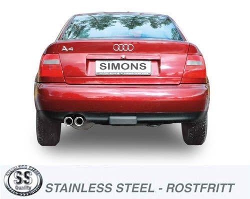 Simons Edelstahlanlage 2x80 mm rund für Audi A4 (B5) Limousine/Avant 2.4 165PS/2.8 193PS Baujahr 98-