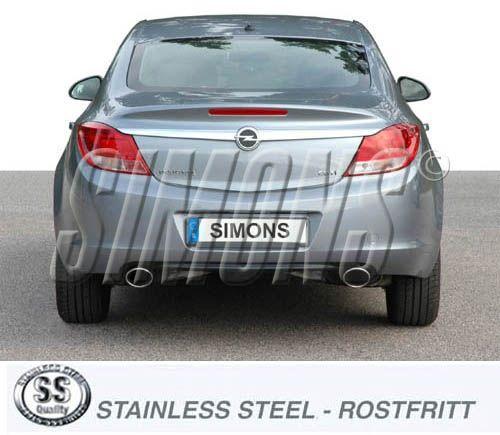 Simons Duplex Edelstahl Auspuffanlage 2x120x90mm oval Opel Insignia 4/5 Türer 4WD 1,6/1,8/2,0 Turbo