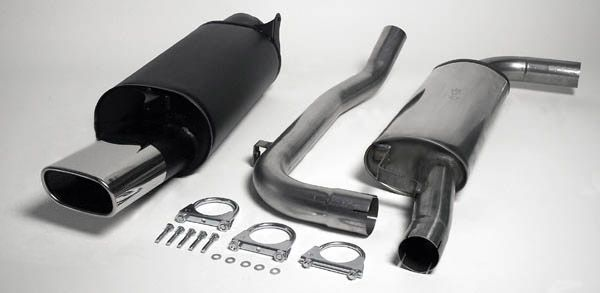 Simons Chromstahl Auspuffanlage 85/150 mm flachoval für Volvo S40/V40 1.8/2.0 Baujahr 96-00