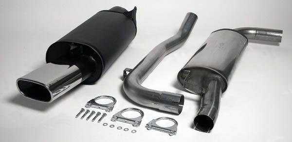 Simons Chromstahl Auspuffanlage 85/150 mm flachoval für Volvo S40/V40 T4/2.0T Baujahr 01-03