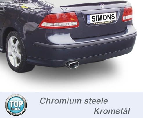 Simons Chromstahl Auspuffanlage 1x85/150mm flachoval Saab 9-3 2.0T-Aero Sport Limousine/Sport Carava