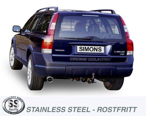 Simons Stainlesssteel Exhaustsystem 1x100mm round Volvo V70 XC 4WD XC70 2.4T/2.5T/D5 Model 01-