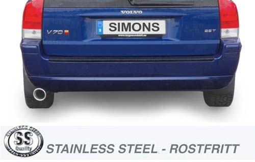 Simons Edelstahl Auspuffanlage 1x100mm rund Volvo V70N Turbo 2WD 2.5T/T5/2.4D/D5 Baujahr 6/04-