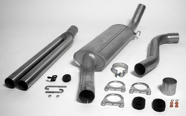 Simons aluminisierte Stahl Auspuffanlage 2x57mm rund Saab 900 Turbo 8V/16V Baujahr 79-88