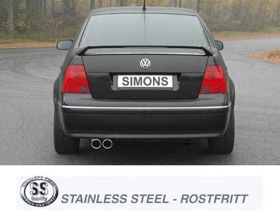 Simons Edelstahl Auspuffanlage 2x80 mm rund für VW Bora 1.4/1.6/1.8/1.8T/1.9TDI/1.9SDI/2.0/2.3 V5 Ba