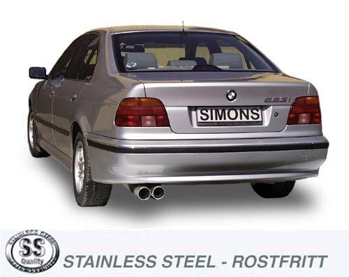 Simons Edelstahl Endschalldämpfer 2x90 mm rund für BMW E39 Limousine 520i/523i/525i/528i/530i Baujah