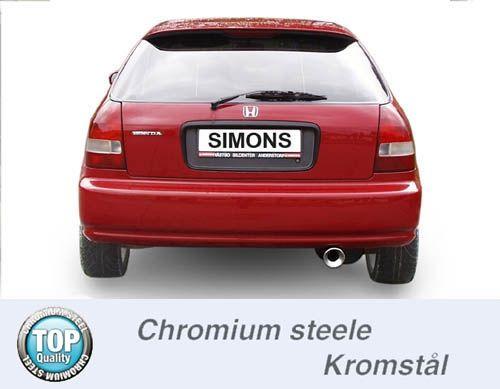 Simons Chromstahl Auspuffanlage 1x100mm rund Honda Civic Fließheck 3/5 Türer 1.3-1.6 Baujahr 92-00
