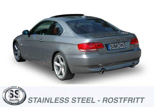 Simons Duplex Edelstahl Endschalldämpfer 1x100 mm rund für BMW E90/E91/E92 Limousine/Touring/Coupé 3