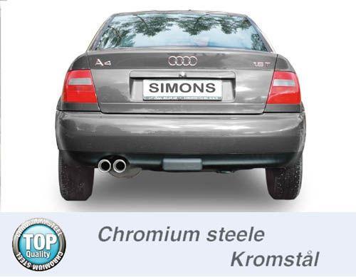 Simons Chromstahlanlage 2x80 mm rund für Audi A4 (B5) Limousine/Avant 1.6/1.8/1,8T/1.9TDi/2.5TDi/2.4