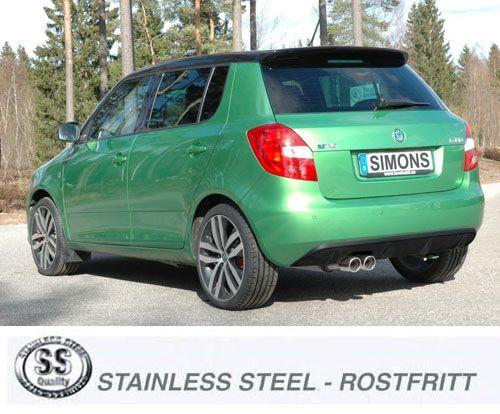 Simons Edelstahl Auspuffanlage 2x80mm rund für Skoda Fabia RS Mk2 1.4TSi Baujahr 2010-