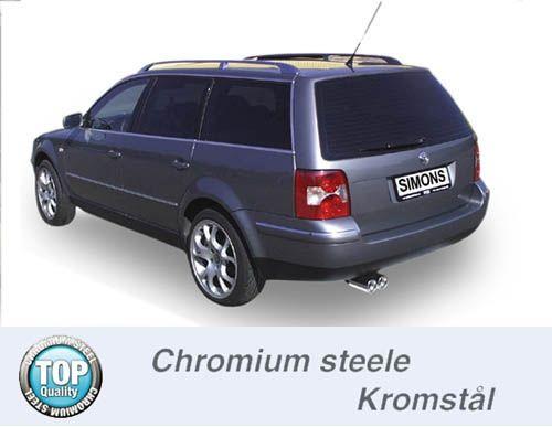 Simons Chromstahl Auspuffanlage 2x80 mm rund für VW Passat Turbo Limousine/Caravan 1.8T/1.9TDi Bauja