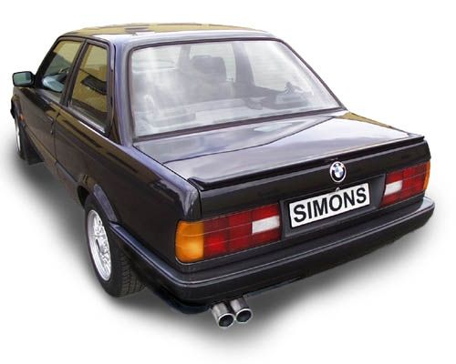 Simons aluminisierte Stahl Auspuffanlage 2x70 mm rund für BMW E30 320i/323I/325i 6Zyl. Baujahr 10/8