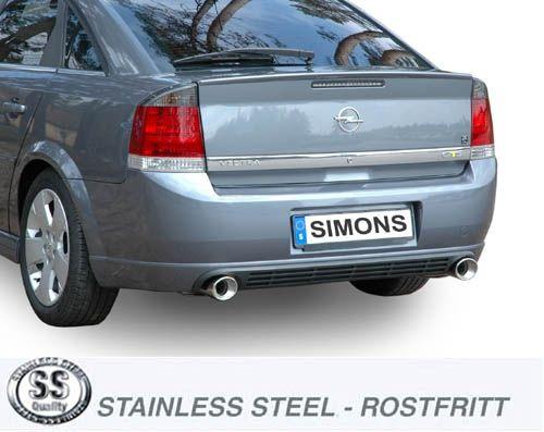 Simons Duplex Edelstahlanl. 1x100mm rund Opel Vectra C Lim. 4/5 Türer 1.8/2.0T/2.2/3.2/1.9CDTi/2.0DT