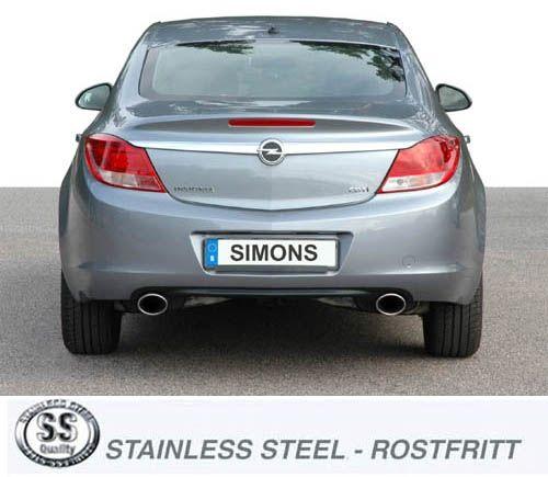 Simons Edelstahl Endschalldämpfer 2x90x120mm oval Opel Insignia 4/5 Türer 2.0 Diesel 2WD 81/96/118k