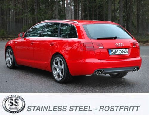 Simons Duplex Edelstahl Endschalldämpfer 2x80 mm rund für Audi A6 (4F) 2.0 TFSi Limousine/Avant Bauj