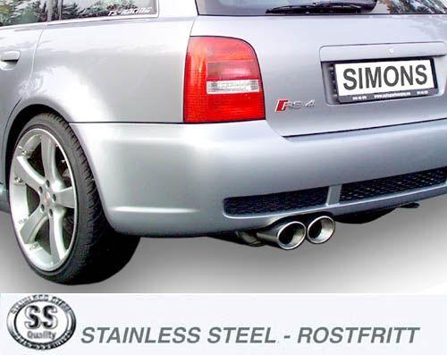Simons Edelstahlanlage 2x90x120 mm oval für Audi RS4 Quattro Limousine/Avant 2.7 380PS Baujahr 00-02