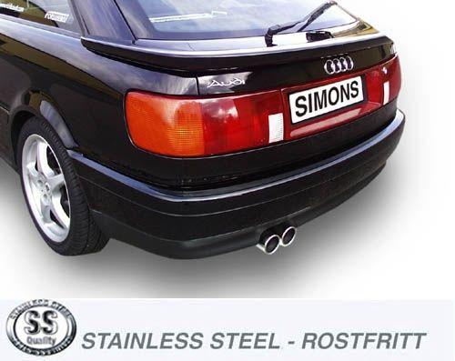 Simons Edelstahl Endschalldämpfer 2x80mm Audi 80/90/S2 Quattro 118kW/125kW/162kW/169kW